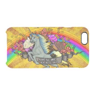 Capa Para iPhone 6/6S Transparente Unicórnio, arco-íris & bacon impressionantes da