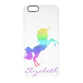 Capa Para iPhone 6/6S Transparente Unicórnio e nome do arco-íris transparentes