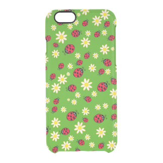 Capa Para iPhone 6/6S Transparente verde bonito do teste padrão de flor do joaninha e