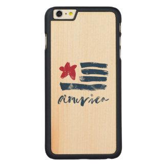 Capa Para iPhone 6 Plus De Bordo, Carved Bandeira americana Paintstrokes