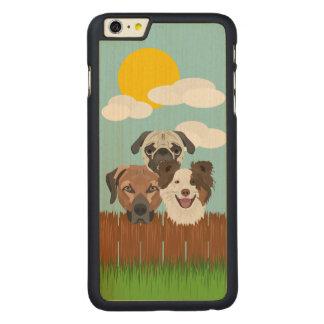 Capa Para iPhone 6 Plus De Bordo, Carved Cães afortunados da ilustração em uma cerca de