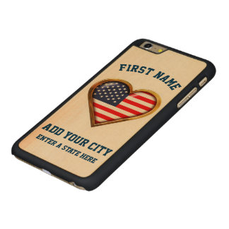 Capa Para iPhone 6 Plus De Bordo, Carved Coração americano personalizado com alguns cidade