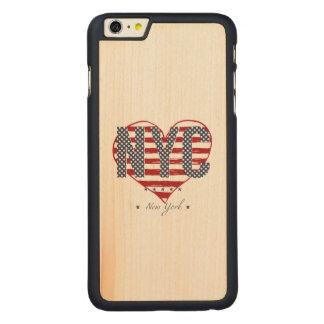 Capa Para iPhone 6 Plus De Bordo, Carved Coração da bandeira americana de NYC