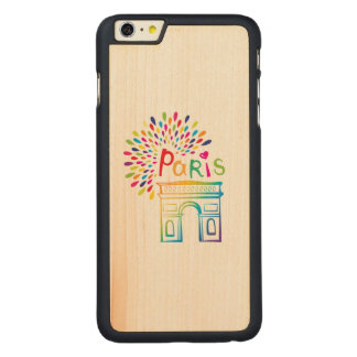 Capa Para iPhone 6 Plus De Bordo, Carved Design de néon de Paris France | Arco do Triunfo |