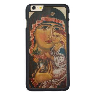 Capa Para iPhone 6 Plus De Bordo, Carved Mãe Mary e arte de Jesus