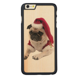 Capa Para iPhone 6 Plus De Bordo, Carved Pug do Natal - cão de Papai Noel - persiga claus