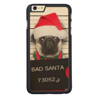 Capa Para iPhone 6 Plus De Bordo, Carved Pug do Natal - cão do mugshot - pug do papai noel