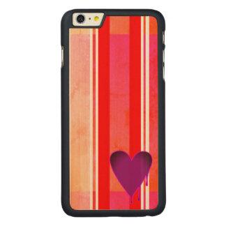 Capa Para iPhone 6 Plus De Bordo, Carved Roxo de derretimento do coração