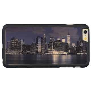 Capa Para iPhone 6 Plus De Bordo, Carved Skyline de New York banhada no azul