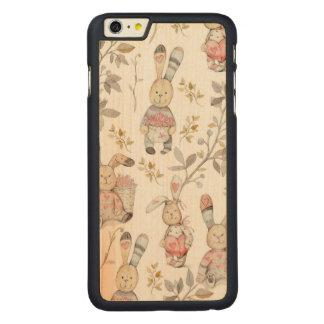 Capa Para iPhone 6 Plus De Bordo, Carved Teste padrão bonito da aguarela dos coelhinhos da
