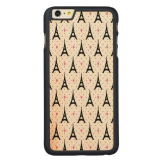 Capa Para iPhone 6 Plus De Bordo, Carved Teste padrão das bolinhas & dos corações da torre