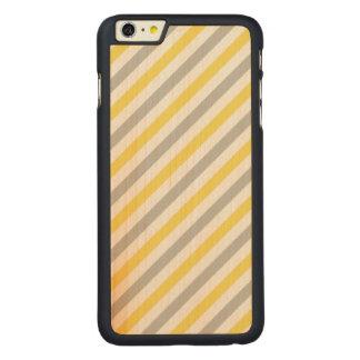 Capa Para iPhone 6 Plus De Bordo, Carved Teste padrão diagonal cinzento e amarelo das