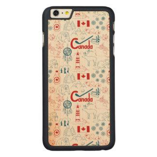 Capa Para iPhone 6 Plus De Bordo, Carved Teste padrão dos símbolos de Canadá |