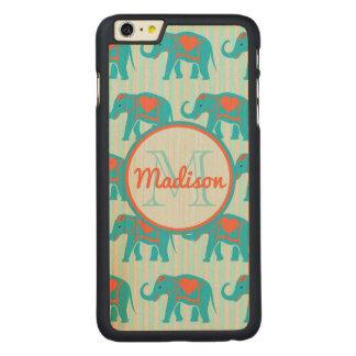 Capa Para iPhone 6 Plus De Bordo, Carved Turquesa da cerceta, elefantes azuis, nome das