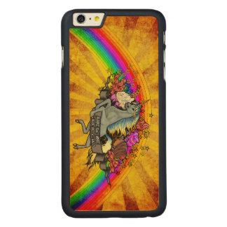 Capa Para iPhone 6 Plus De Bordo, Carved Unicórnio da sobrecarga, arco-íris & bordo