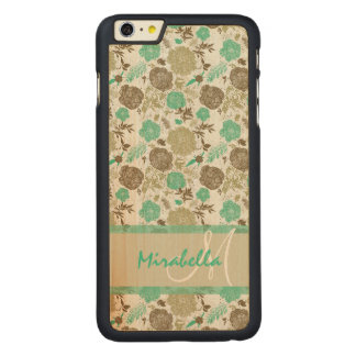 Capa Para iPhone 6 Plus De Bordo, Carved Verde pastel luxúria da hortelã, rosas bege no