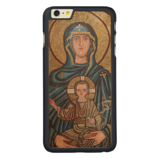 Capa Para iPhone 6 Plus De Bordo, Carved Virgem Maria e mosaico de Jesus