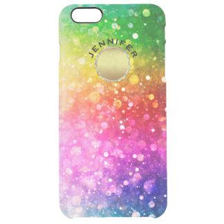 Capa Para iPhone 6 Plus Transparente Acento colorido do ouro do brilho de Bokeh