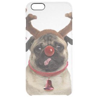Capa Para iPhone 6 Plus Transparente Antlers do Pug - pug do Natal - Feliz Natal
