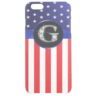 """Capa Para iPhone 6 Plus Transparente Bandeira dos EUA Ameican com o diamante do """"falso"""""""