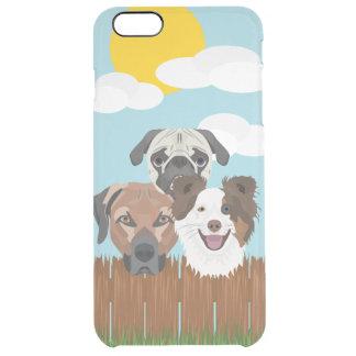 Capa Para iPhone 6 Plus Transparente Cães afortunados da ilustração em uma cerca de
