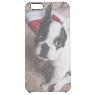 Capa Para iPhone 6 Plus Transparente Cão de Papai Noel - pug engraçado - persiga claus