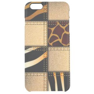 Capa Para iPhone 6 Plus Transparente Colagem animal de jeans do impressão do girafa da