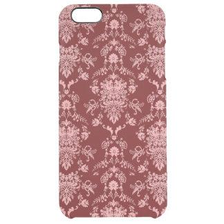 Capa Para iPhone 6 Plus Transparente Damasco cor-de-rosa na obscuridade - vermelho