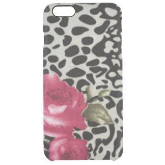 Capa Para iPhone 6 Plus Transparente Design animal do leopardo branco cor-de-rosa do