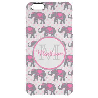 Capa Para iPhone 6 Plus Transparente Elefantes cor-de-rosa quentes cinzentos em