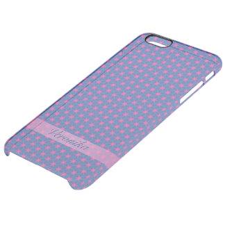 Capa Para iPhone 6 Plus Transparente Estrelas cor-de-rosa em um fundo azul