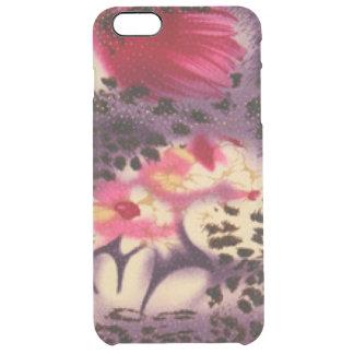 Capa Para iPhone 6 Plus Transparente Flores cor-de-rosa & design do leopardo