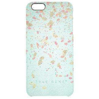 Capa Para iPhone 6 Plus Transparente Folhas cor-de-rosa corais personalizadas do ouro