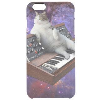 Capa Para iPhone 6 Plus Transparente gato do teclado - memes do gato - gato louco