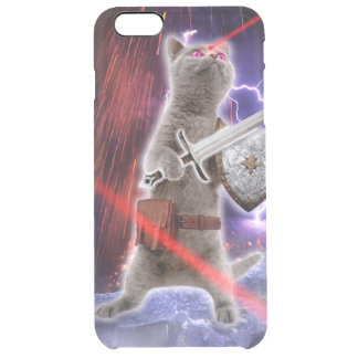 Capa Para iPhone 6 Plus Transparente gatos do guerreiro - gato do cavaleiro - laser do