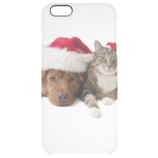 Capa Para iPhone 6 Plus Transparente Gatos e cães - gato do Natal - cão do Natal