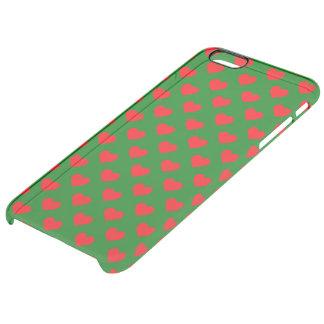 Capa Para iPhone 6 Plus Transparente Grandes corações vermelhos do Natal no verde
