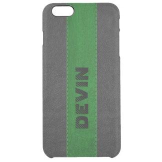 Capa Para iPhone 6 Plus Transparente Imagem do preto & do couro costurado verde
