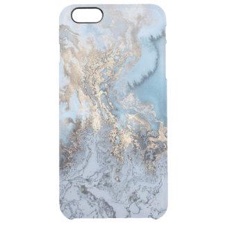 Capa Para iPhone 6 Plus Transparente Iphone dourado de mármore 6/6S do abstrato do azul