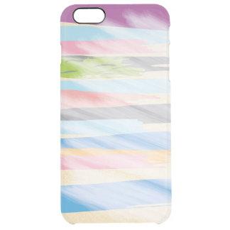 Capa Para iPhone 6 Plus Transparente Listras do roxo, dos azul-céu, das cinzas, as