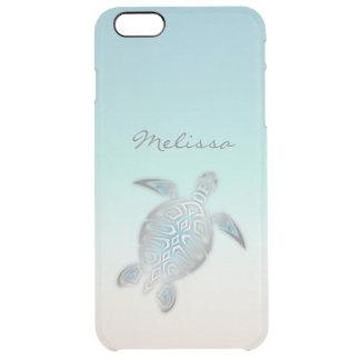 Capa Para iPhone 6 Plus Transparente Monograma claro de prata costal da tartaruga de