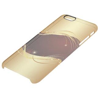 Capa Para iPhone 6 Plus Transparente Motriz dourado do Natal com fundo vermelho…