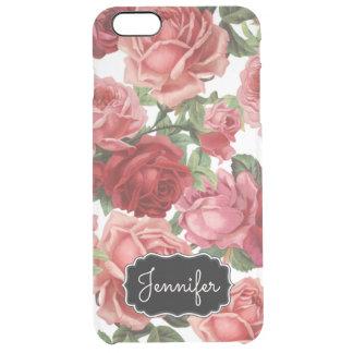 Capa Para iPhone 6 Plus Transparente Nome floral dos rosas rosas vermelha elegantes
