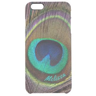 Capa Para iPhone 6 Plus Transparente Olho bonito da pena do pavão, seu nome