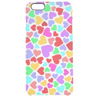 Capa Para iPhone 6 Plus Transparente Padrões coloridos bonitos dos corações