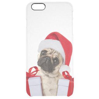 Capa Para iPhone 6 Plus Transparente Presentes do Pug - cão claus - pugs engraçados -