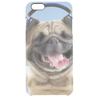 Capa Para iPhone 6 Plus Transparente Pug com fones de ouvido, pug, animal de estimação