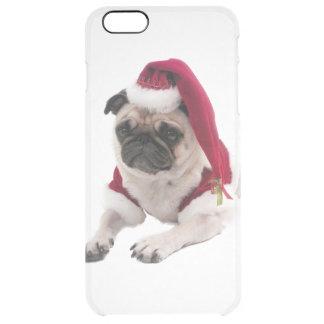 Capa Para iPhone 6 Plus Transparente Pug do Natal - cão de Papai Noel - persiga claus