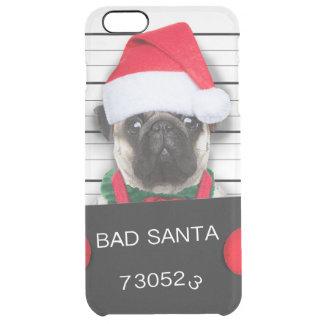 Capa Para iPhone 6 Plus Transparente Pug do Natal - cão do mugshot - pug do papai noel