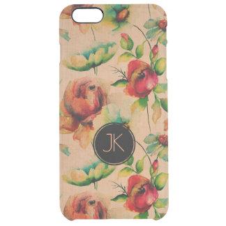 Capa Para iPhone 6 Plus Transparente Rosas vermelhas no fundo de madeira louro